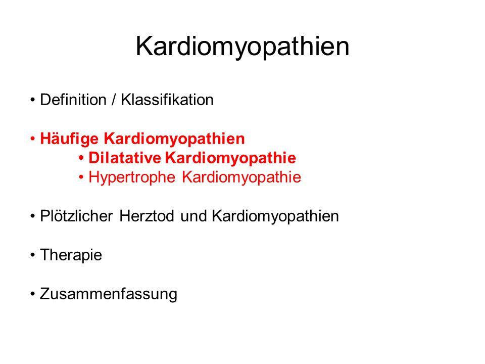 Dilatative Kardiomyopathie -Ventrikeldilatation mit systolischem Pumpfehler -Zusätzlich diastolische Compliencestörung -Ätiologie: - Idiopathisch - Alkohol / toxisch - Familiär / genetisch - Auto -AK - Viral / und oder immunmediiert - Coxsackievirus B, Adeno, EBV, HSV, CMV, HCV