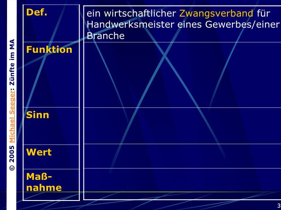 © 2005 Michael Seeger: Zünfte im MAMichael Seeger 3 Def.