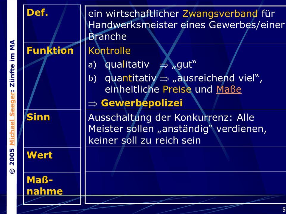 © 2005 Michael Seeger: Zünfte im MAMichael Seeger 5 Def.