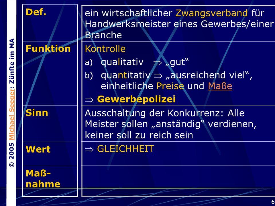 © 2005 Michael Seeger: Zünfte im MAMichael Seeger 6 Def.