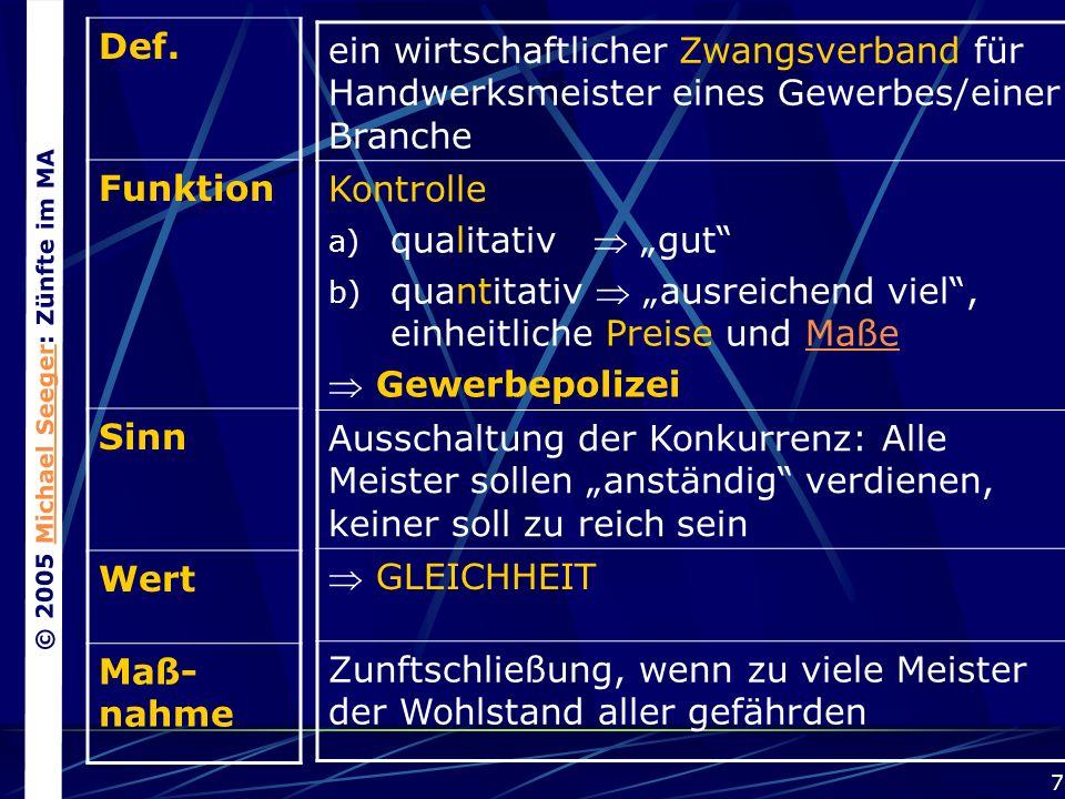 © 2005 Michael Seeger: Zünfte im MAMichael Seeger 7 Def.