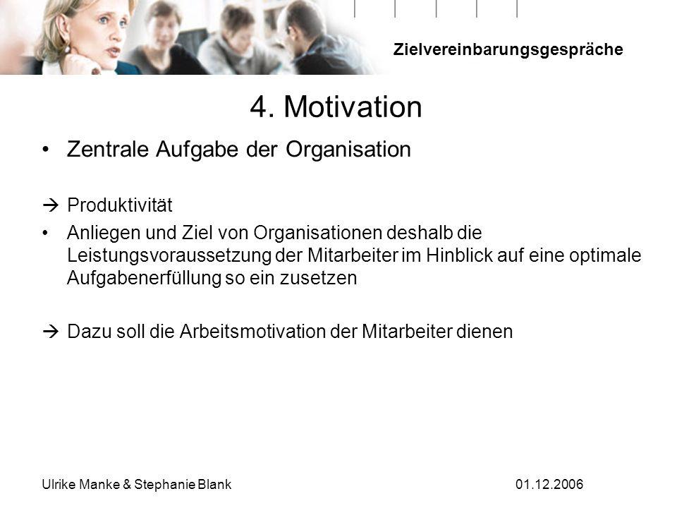 Zielvereinbarungsgespräche Ulrike Manke & Stephanie Blank01.12.2006 Zentrale Aufgabe der Organisation Produktivität Anliegen und Ziel von Organisation