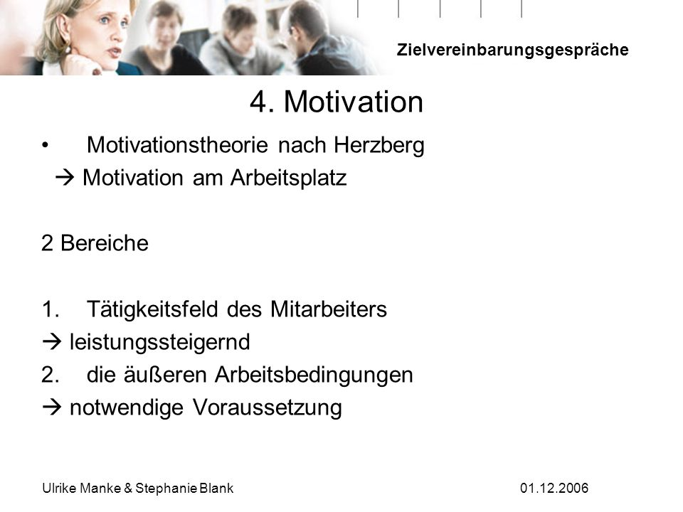 Zielvereinbarungsgespräche Ulrike Manke & Stephanie Blank01.12.2006 4. Motivation Motivationstheorie nach Herzberg Motivation am Arbeitsplatz 2 Bereic