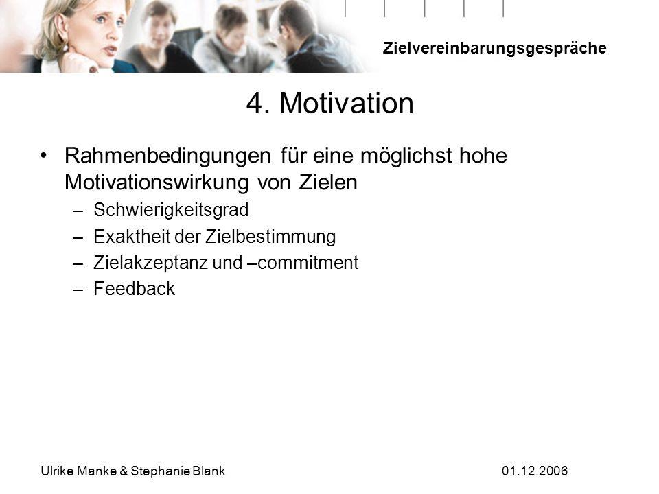 Zielvereinbarungsgespräche Ulrike Manke & Stephanie Blank01.12.2006 Rahmenbedingungen für eine möglichst hohe Motivationswirkung von Zielen –Schwierig