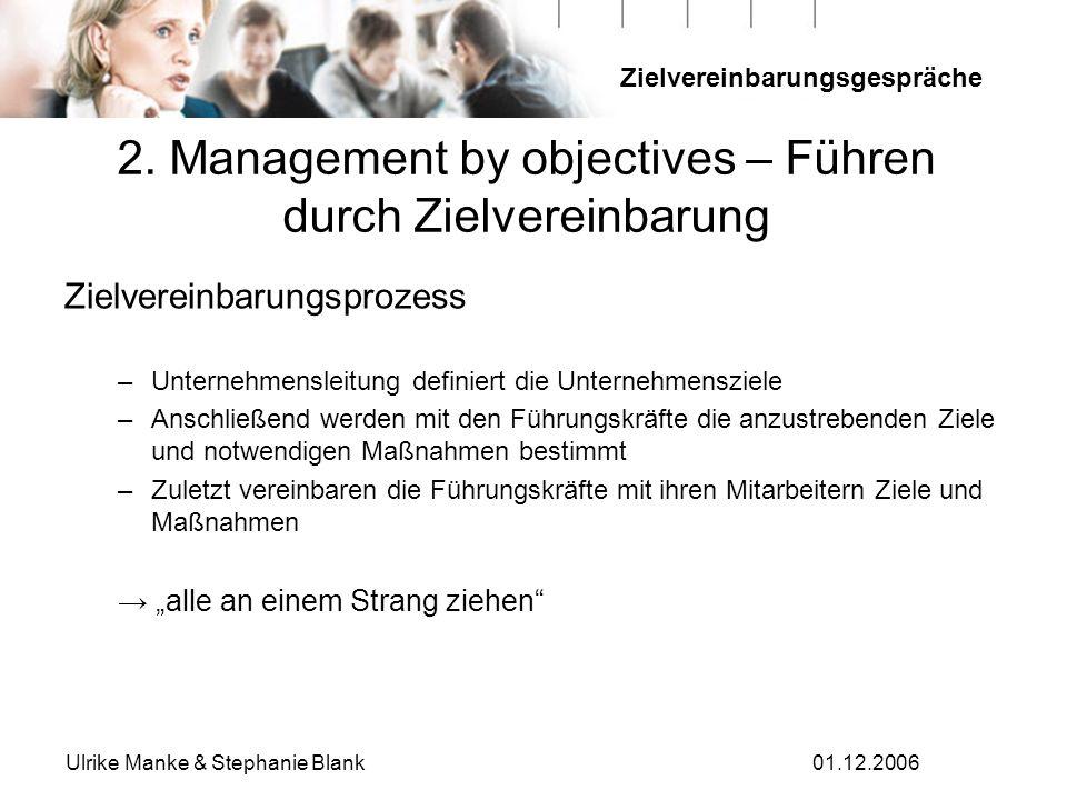 Zielvereinbarungsgespräche Ulrike Manke & Stephanie Blank01.12.2006 2. Management by objectives – Führen durch Zielvereinbarung Zielvereinbarungsproze