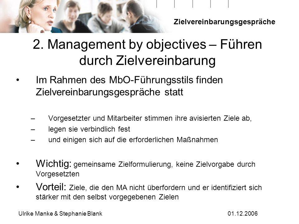 Zielvereinbarungsgespräche Ulrike Manke & Stephanie Blank01.12.2006 2. Management by objectives – Führen durch Zielvereinbarung Im Rahmen des MbO-Führ