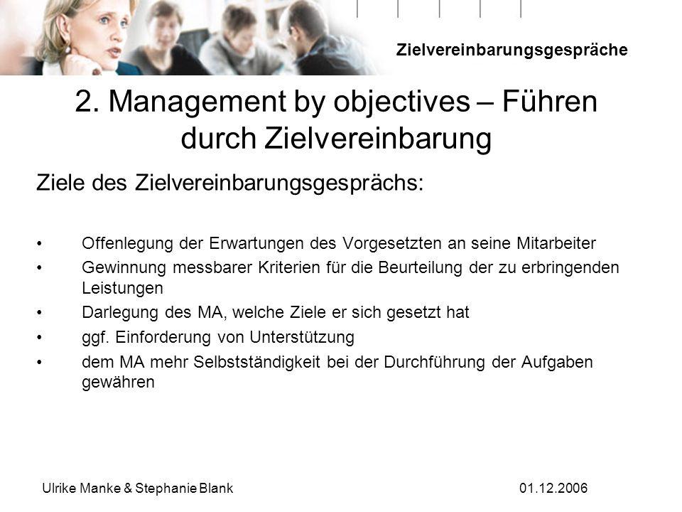 Zielvereinbarungsgespräche Ulrike Manke & Stephanie Blank01.12.2006 2. Management by objectives – Führen durch Zielvereinbarung Ziele des Zielvereinba
