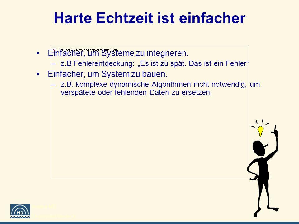 Institut MD Universität Rostock Harte Echtzeit ist einfacher Einfacher, um Systeme zu integrieren. –z.B Fehlerentdeckung: Es ist zu spät. Das ist ein