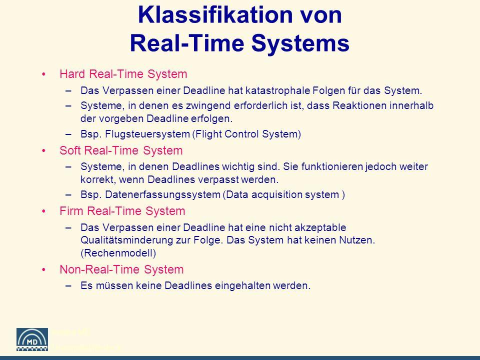 Institut MD Universität Rostock Klassifikation von Real-Time Systems Hard Real-Time System –Das Verpassen einer Deadline hat katastrophale Folgen für