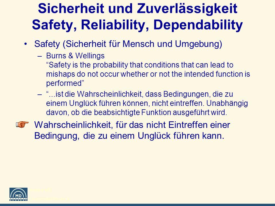 Institut MD Universität Rostock Sicherheit und Zuverlässigkeit Safety, Reliability, Dependability Safety (Sicherheit für Mensch und Umgebung) –Burns &