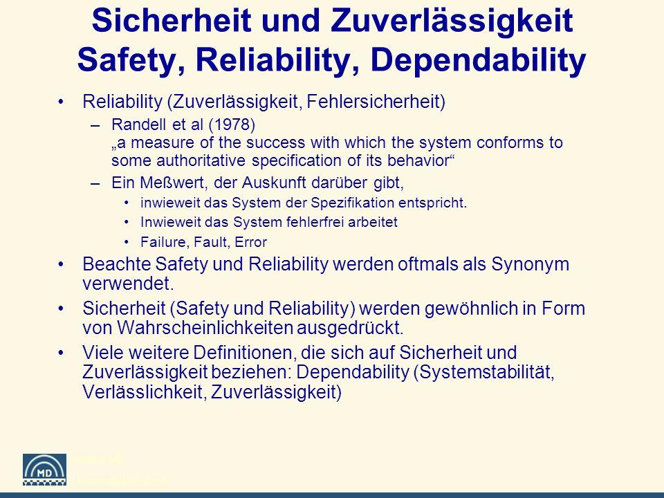 Institut MD Universität Rostock Sicherheit und Zuverlässigkeit Safety, Reliability, Dependability Reliability (Zuverlässigkeit, Fehlersicherheit) –Ran