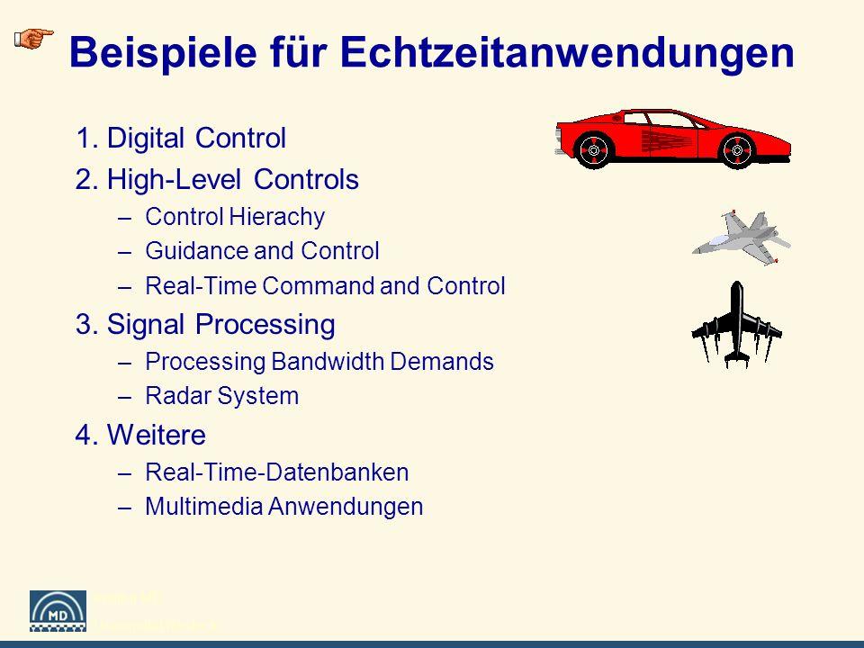 Institut MD Universität Rostock Beispiele für Echtzeitanwendungen 1. Digital Control 2. High-Level Controls –Control Hierachy –Guidance and Control –R