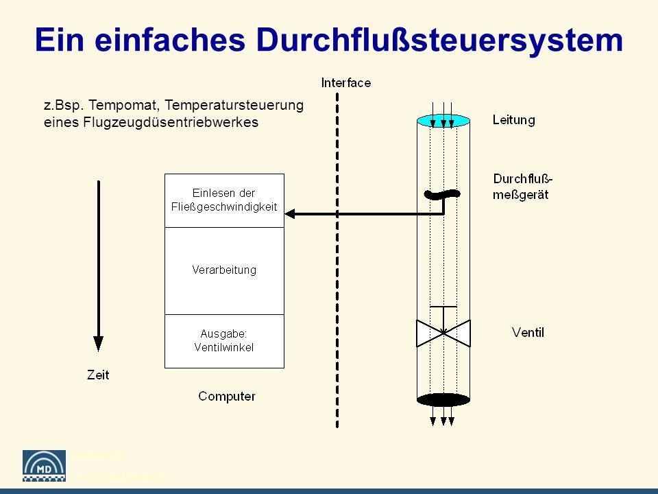 Institut MD Universität Rostock Ein einfaches Durchflußsteuersystem z.Bsp. Tempomat, Temperatursteuerung eines Flugzeugdüsentriebwerkes