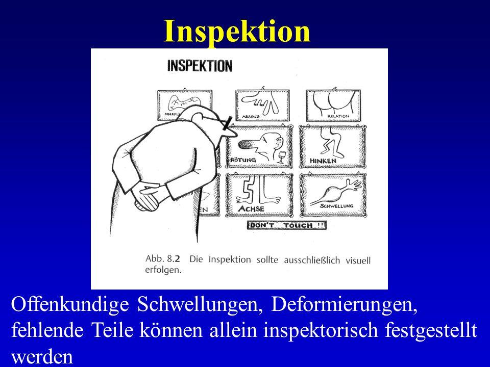 Inspektion Offenkundige Schwellungen, Deformierungen, fehlende Teile können allein inspektorisch festgestellt werden