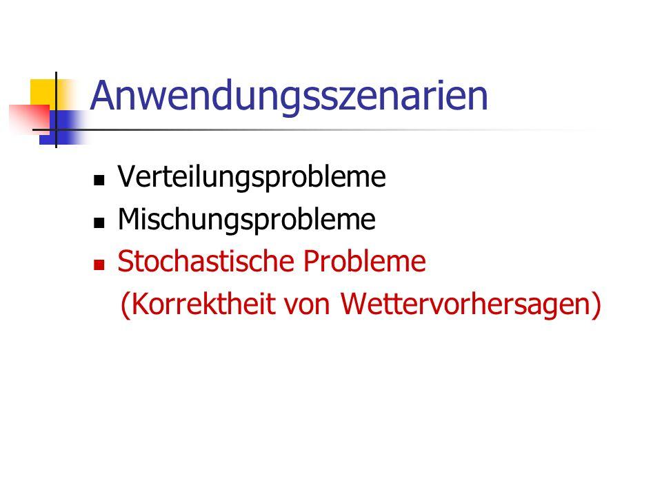Anwendungsszenarien Verteilungsprobleme Mischungsprobleme Stochastische Probleme (Korrektheit von Wettervorhersagen)