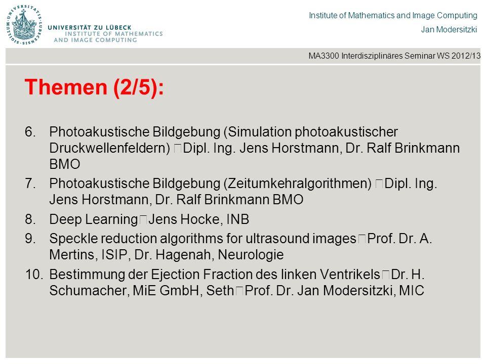 Institut für Beispielsysteme | Forschungsgruppe Systembeispiele Institute of Mathematics and Image Computing Jan Modersitzki MA3300 Interdisziplinäres Seminar WS 2012/13 Themen (3/5): 11.Neuronale Architekturen zur optimalen Signaltrennung von Riechwahrnehmungen Prof.