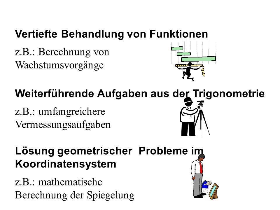 Vertiefte Behandlung von Funktionen z.B.: Berechnung von Wachstumsvorgänge Weiterführende Aufgaben aus der Trigonometrie Lösung geometrischer Probleme