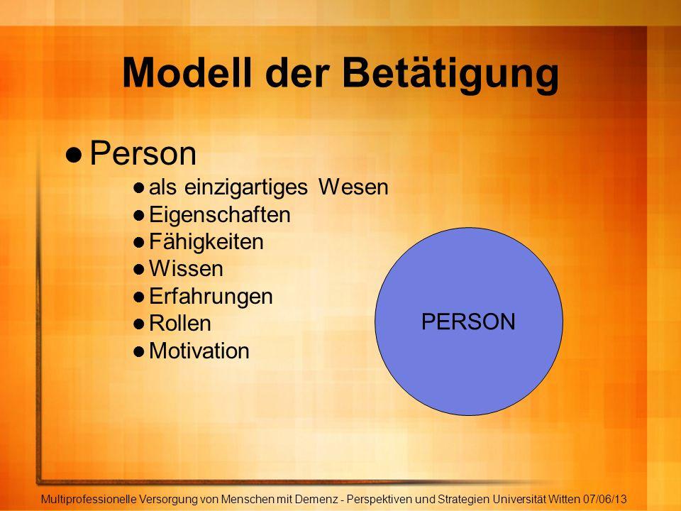 Modell der Betätigung Person als einzigartiges Wesen Eigenschaften Fähigkeiten Wissen Erfahrungen Rollen Motivation Multiprofessionelle Versorgung von