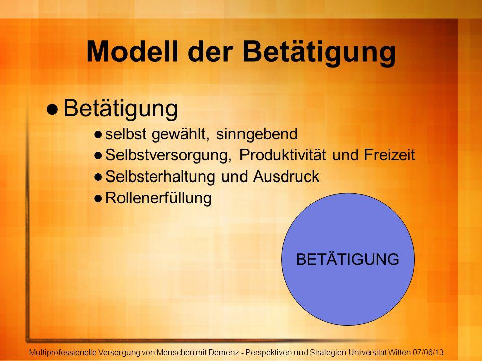 Modell der Betätigung Betätigung selbst gewählt, sinngebend Selbstversorgung, Produktivität und Freizeit Selbsterhaltung und Ausdruck Rollenerfüllung