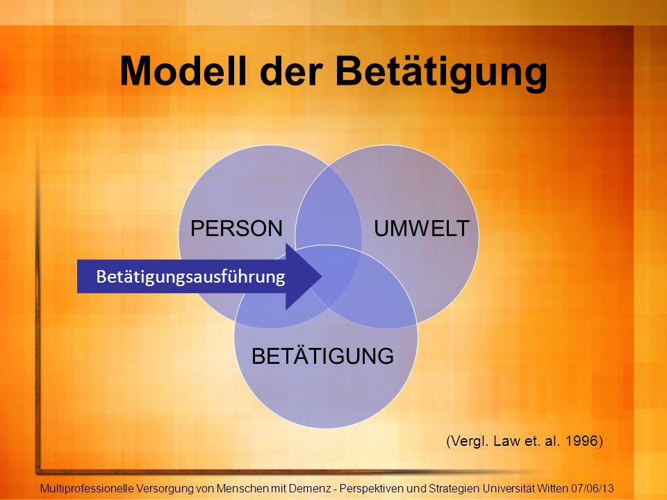 Modell der Betätigung Multiprofessionelle Versorgung von Menschen mit Demenz - Perspektiven und Strategien Universität Witten 07/06/13 PERSONUMWELT BE