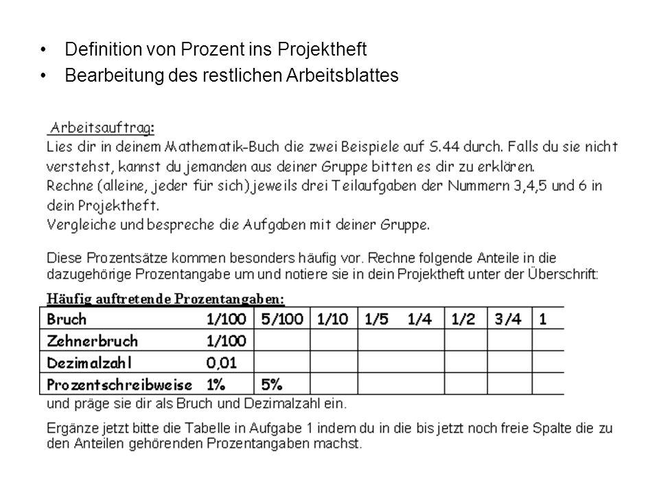 Definition von Prozent ins Projektheft Bearbeitung des restlichen Arbeitsblattes