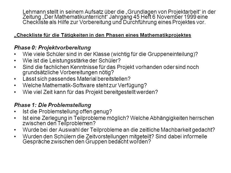 Lehmann stellt in seinem Aufsatz über die Grundlagen von Projektarbeit in der Zeitung Der Mathematikunterricht Jahrgang 45 Heft 6 November 1999 eine C
