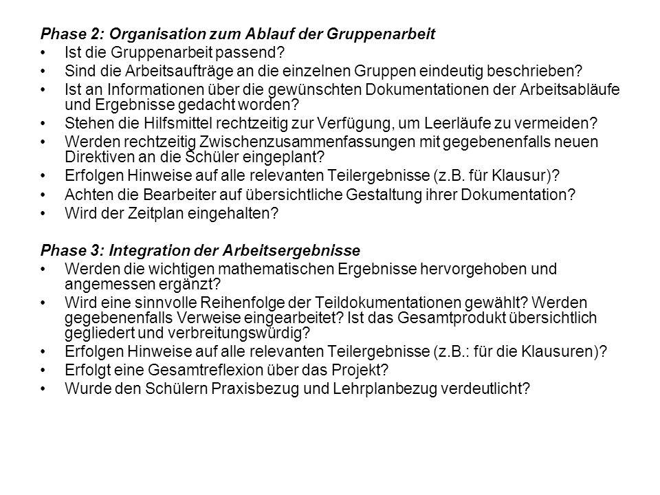 Phase 2: Organisation zum Ablauf der Gruppenarbeit Ist die Gruppenarbeit passend? Sind die Arbeitsaufträge an die einzelnen Gruppen eindeutig beschrie