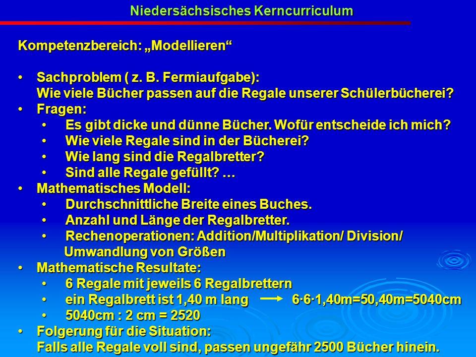 Niedersächsisches Kerncurriculum Kompetenzbereich: Modellieren Sachproblem ( z. B. Fermiaufgabe): Sachproblem ( z. B. Fermiaufgabe): Wie viele Bücher