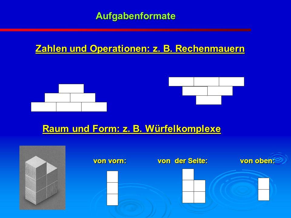 Aufgabenformate von oben: von der Seite: von vorn: Zahlen und Operationen: z. B. Rechenmauern Raum und Form: z. B. Würfelkomplexe