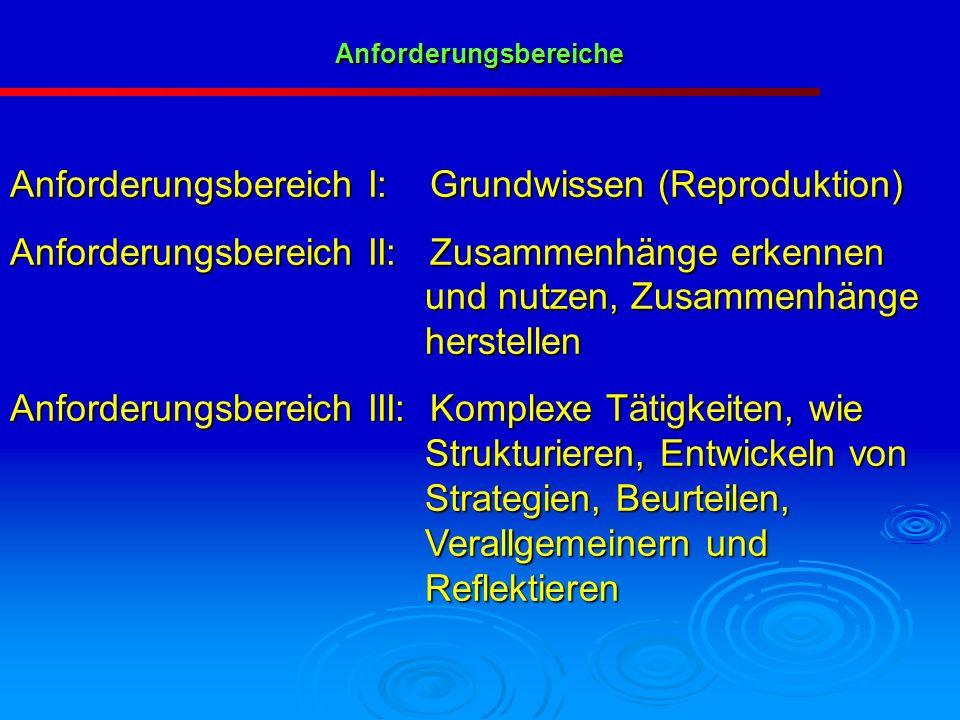 Anforderungsbereich I: Grundwissen (Reproduktion) Anforderungsbereich II: Zusammenhänge erkennen und nutzen, Zusammenhänge herstellen Anforderungsbere