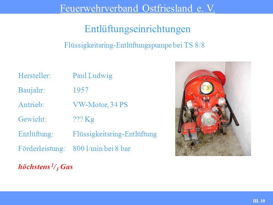III. 10 Flüssigkeitsring-Entlüftungspumpe bei TS 8/8 Feuerwehrverband Ostfriesland e. V. Entlüftungseinrichtungen Hersteller: Paul Ludwig Baujahr:1957