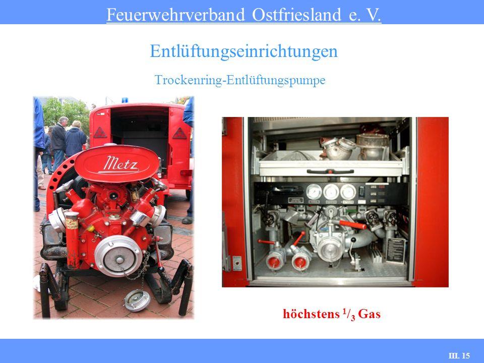 III. 15 Trockenring-Entlüftungspumpe Feuerwehrverband Ostfriesland e. V. Entlüftungseinrichtungen höchstens 1 / 3 Gas