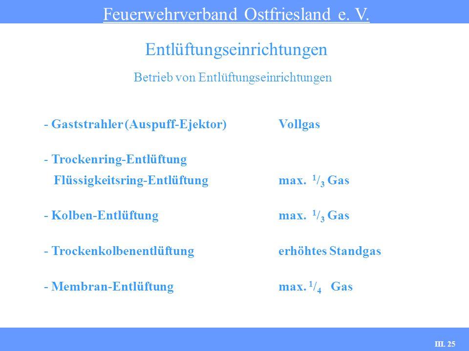 III. 25 Betrieb von Entlüftungseinrichtungen Feuerwehrverband Ostfriesland e. V. Entlüftungseinrichtungen - Gaststrahler (Auspuff-Ejektor)Vollgas - Tr