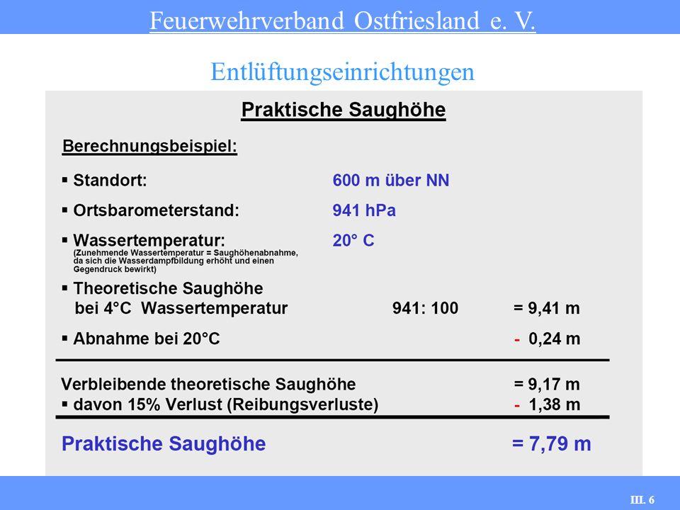 III. 6 Praktische Saughöhe Feuerwehrverband Ostfriesland e. V. Entlüftungseinrichtungen