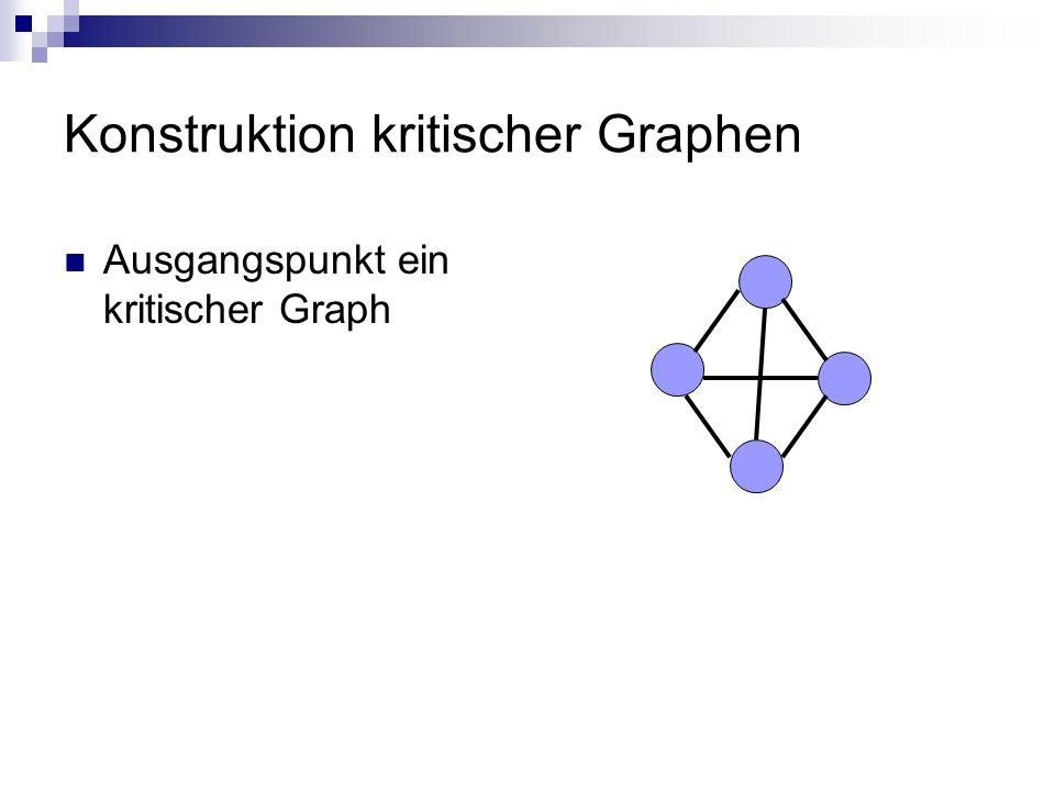 Konstruktion kritischer Graphen Ausgangspunkt ein kritischer Graph