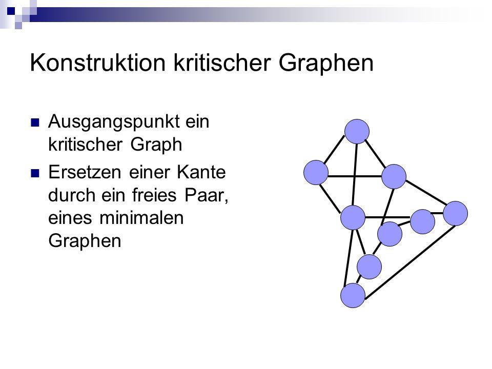 Konstruktion kritischer Graphen Ausgangspunkt ein kritischer Graph Ersetzen einer Kante durch ein freies Paar, eines minimalen Graphen