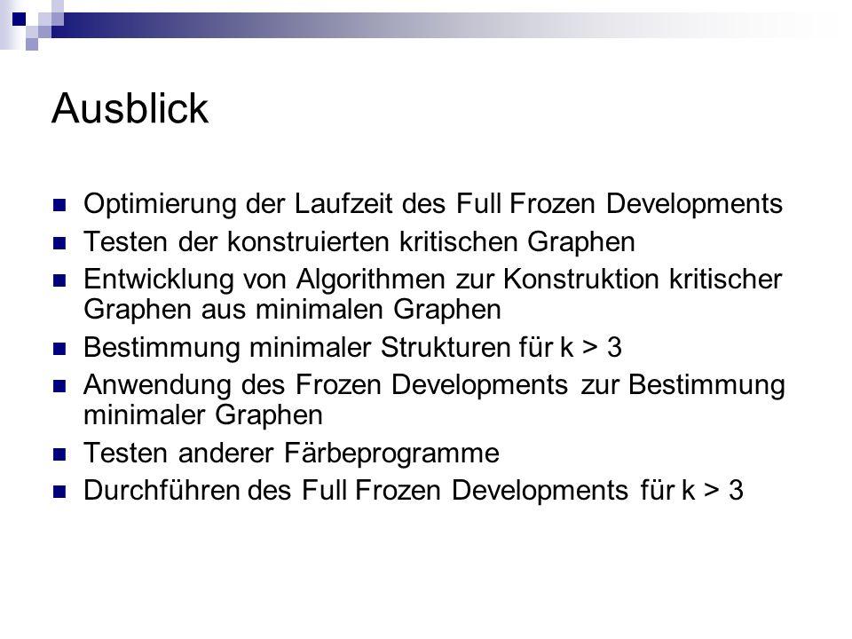 Ausblick Optimierung der Laufzeit des Full Frozen Developments Testen der konstruierten kritischen Graphen Entwicklung von Algorithmen zur Konstruktio