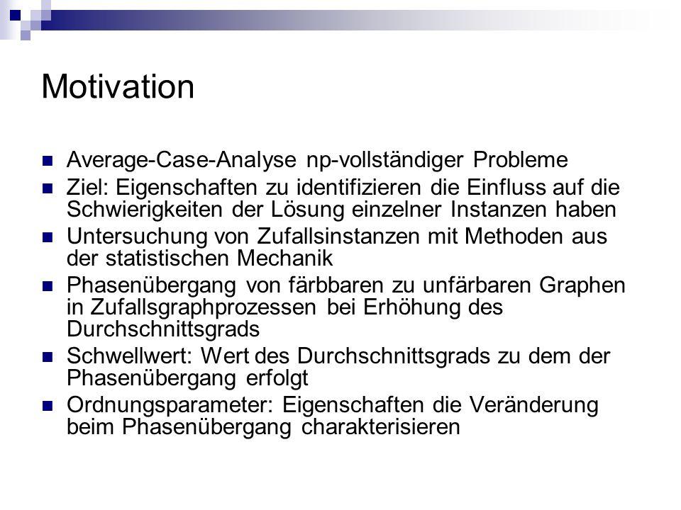 Motivation Average-Case-Analyse np-vollständiger Probleme Ziel: Eigenschaften zu identifizieren die Einfluss auf die Schwierigkeiten der Lösung einzel