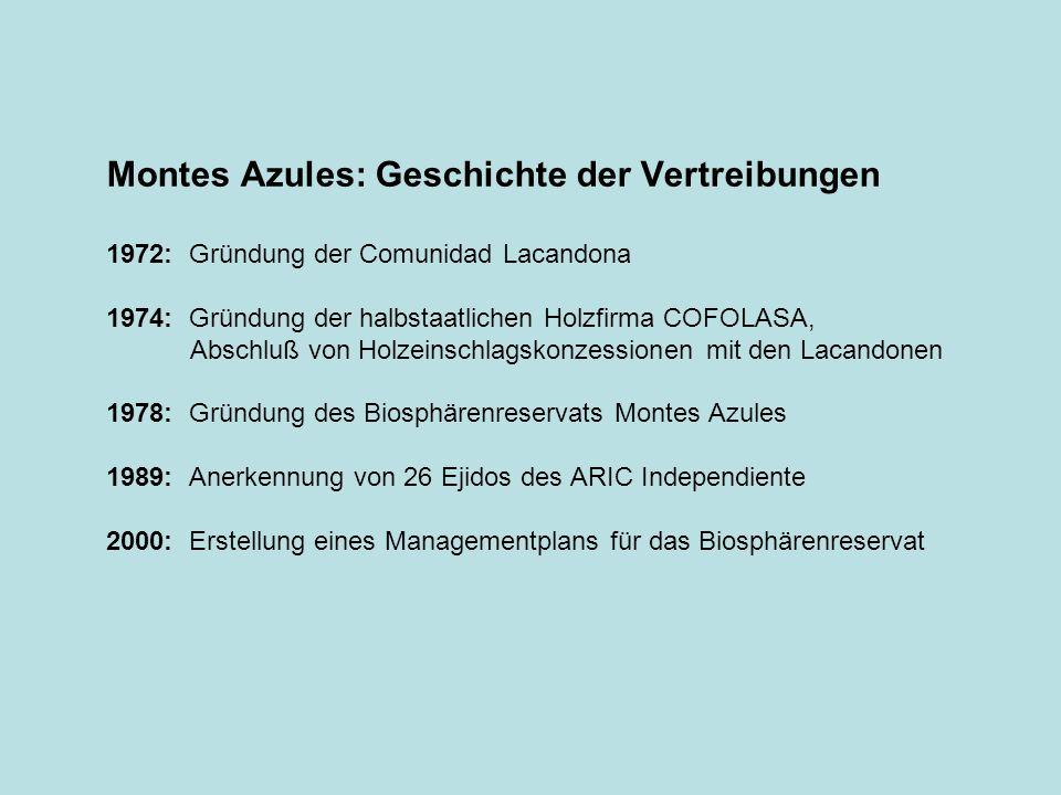 Montes Azules: Geschichte der Vertreibungen 1972: Gründung der Comunidad Lacandona 1974: Gründung der halbstaatlichen Holzfirma COFOLASA, Abschluß von