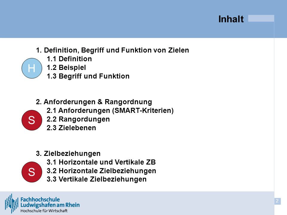 2 Inhalt 1. Definition, Begriff und Funktion von Zielen 1.1 Definition 1.2 Beispiel 1.3 Begriff und Funktion 2. Anforderungen & Rangordnung 2.1 Anford