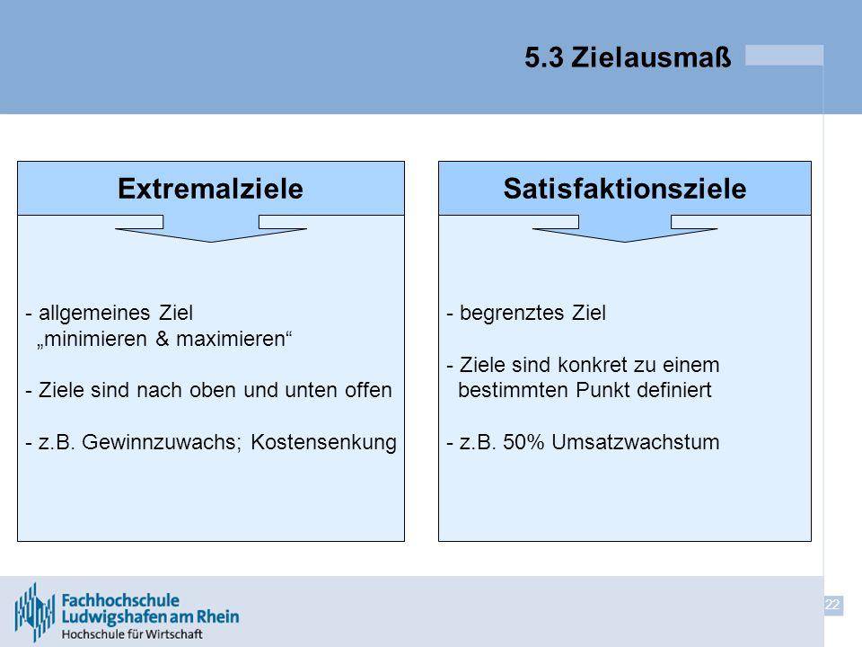 22 5.3 Zielausmaß - - allgemeines Ziel minimieren & maximieren - - Ziele sind nach oben und unten offen - - z.B. Gewinnzuwachs; Kostensenkung - - begr