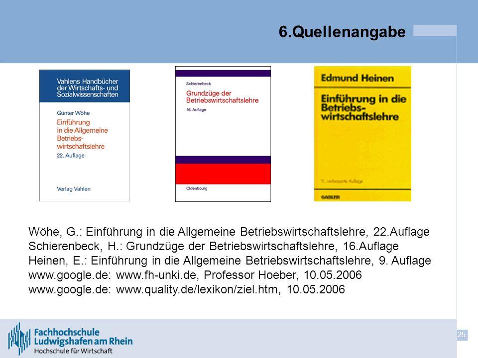 25 6.Quellenangabe Wöhe, G.: Einführung in die Allgemeine Betriebswirtschaftslehre, 22.Auflage Schierenbeck, H.: Grundzüge der Betriebswirtschaftslehr