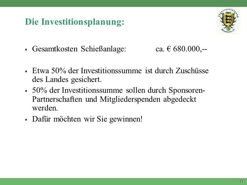11 Die Investitionsplanung: Gesamtkosten Schießanlage: ca. 680.000,-- Etwa 50% der Investitionssumme ist durch Zuschüsse des Landes gesichert. 50% der