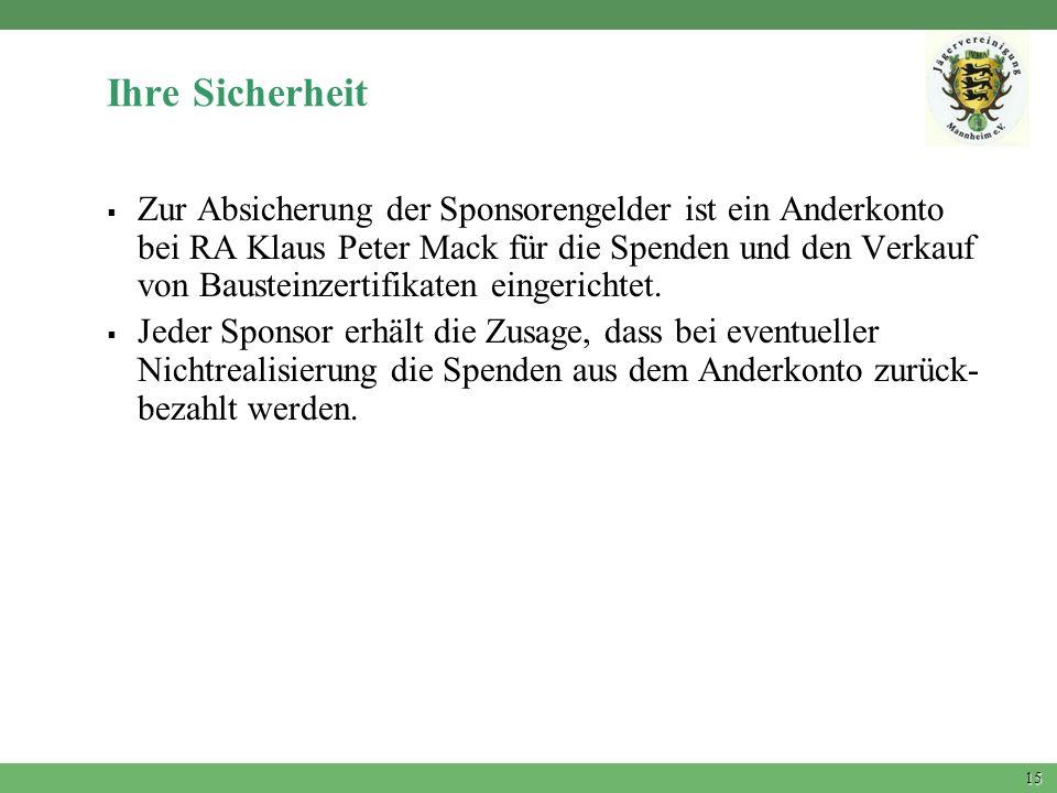 15 Ihre Sicherheit Zur Absicherung der Sponsorengelder ist ein Anderkonto bei RA Klaus Peter Mack für die Spenden und den Verkauf von Bausteinzertifik