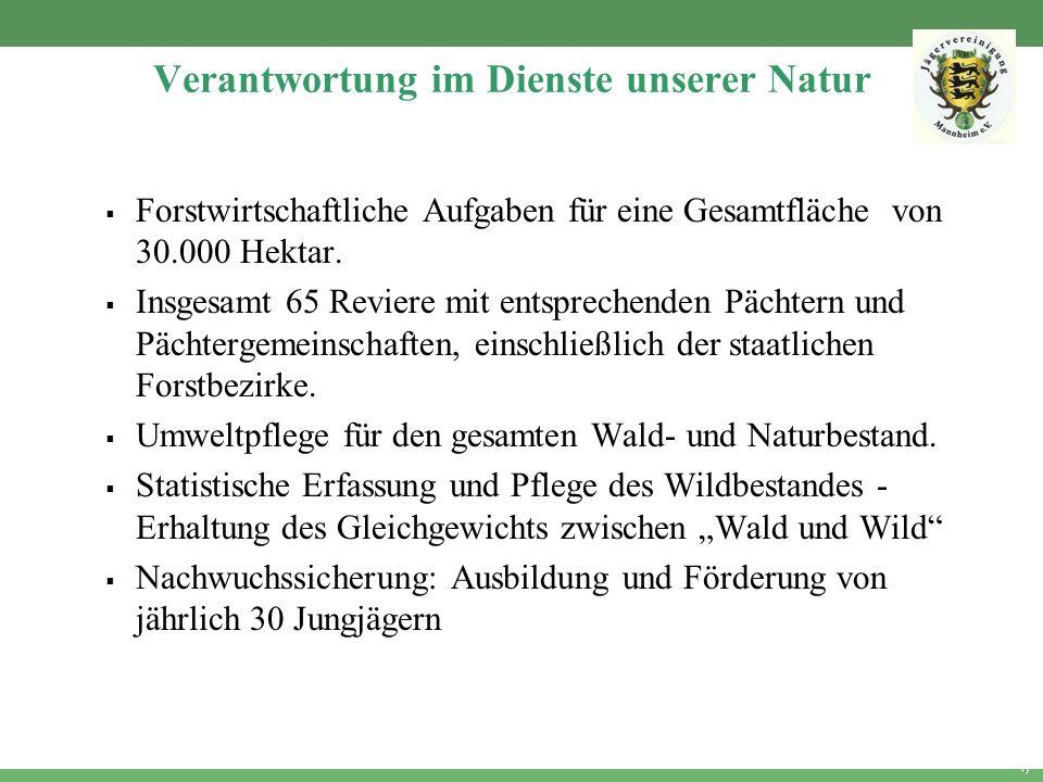4 Verantwortung im Dienste unserer Natur Forstwirtschaftliche Aufgaben für eine Gesamtfläche von 30.000 Hektar. Insgesamt 65 Reviere mit entsprechende