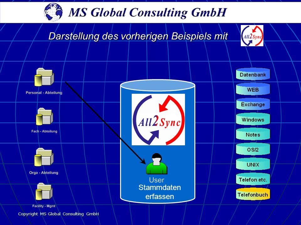 Copyright MS Global Consulting GmbH Darstellung des vorherigen Beispiels mit Stammdaten erfassen