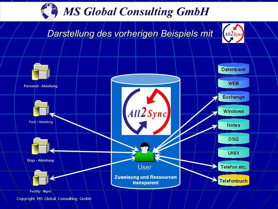 Copyright MS Global Consulting GmbH Zuweisung und Ressourcen transparent Darstellung des vorherigen Beispiels mit