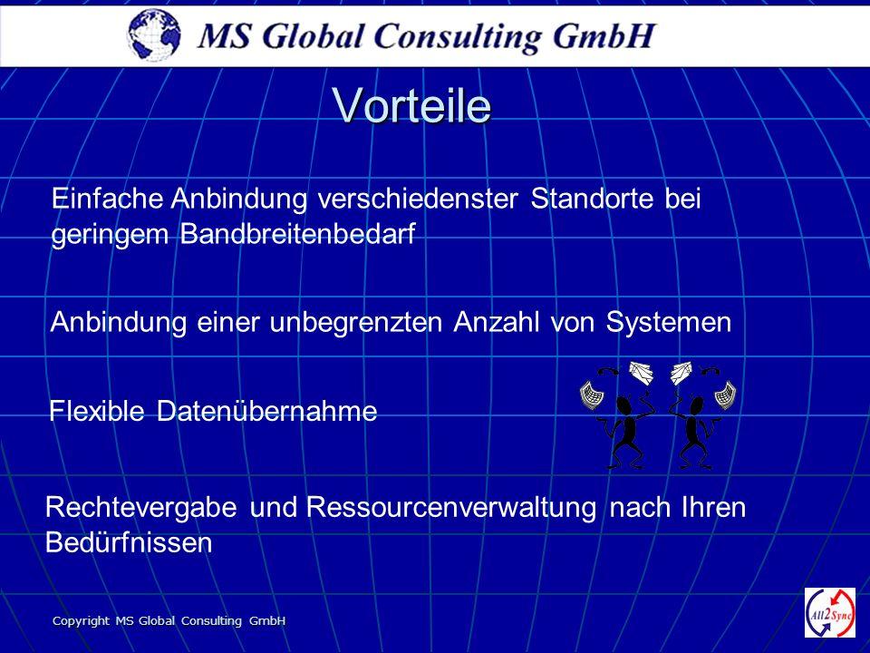 Copyright MS Global Consulting GmbH Vorteile Einfache Anbindung verschiedenster Standorte bei geringem Bandbreitenbedarf Rechtevergabe und Ressourcenv