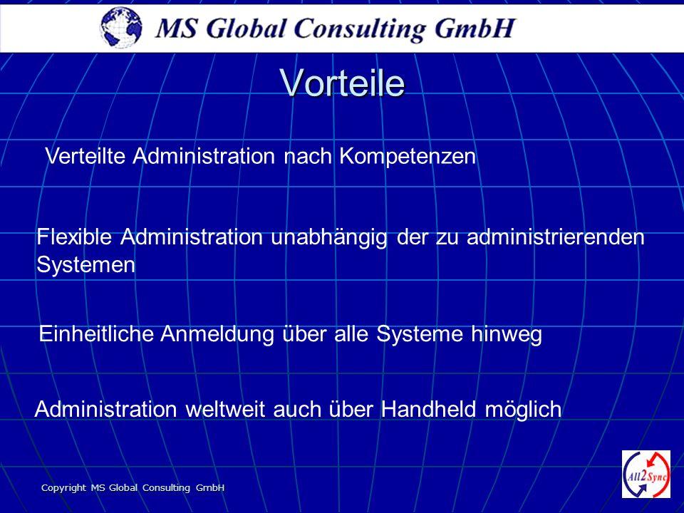 Copyright MS Global Consulting GmbH Verteilte Administration nach Kompetenzen Flexible Administration unabhängig der zu administrierenden Systemen Ein