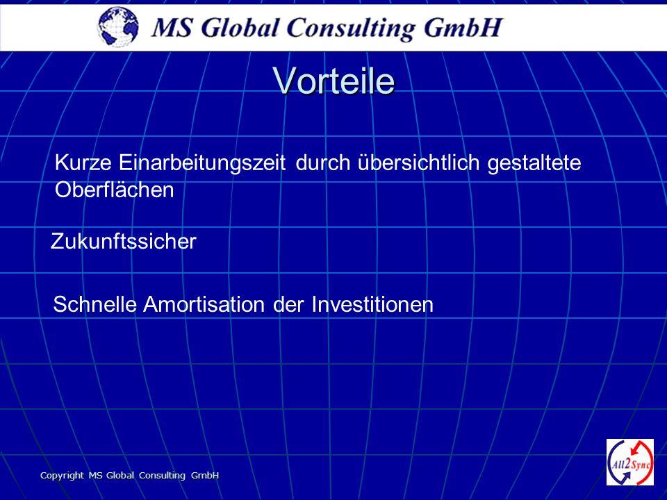 Copyright MS Global Consulting GmbH Vorteile Schnelle Amortisation der Investitionen Zukunftssicher Kurze Einarbeitungszeit durch übersichtlich gestal